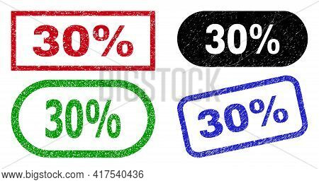 30 Percent Grunge Stamps. Flat Vector Grunge Seal Stamps With 30 Percent Caption Inside Different Re