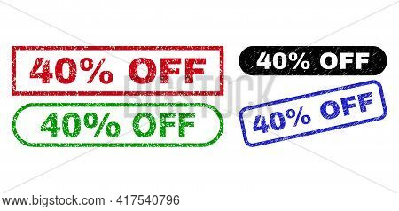 40 Percent Off Grunge Seal Stamps. Flat Vector Distress Seal Stamps With 40 Percent Off Slogan Insid
