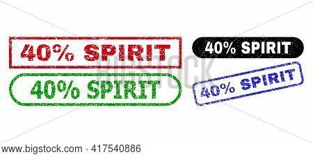 40 Percent Spirit Grunge Seal Stamps. Flat Vector Grunge Seal Stamps With 40 Percent Spirit Tag Insi