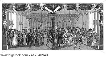 Bal, or the World in Masquerade, vintage engraving.