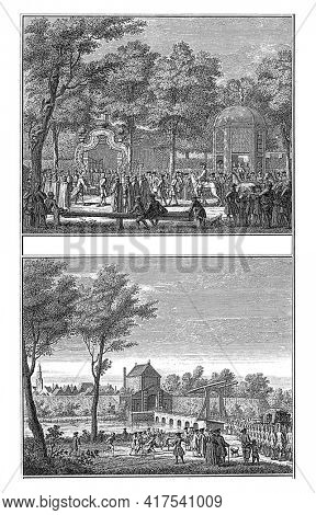 Two representations of the arrival at the city and of the offering of the keys to Willem IV, vintage engraving.