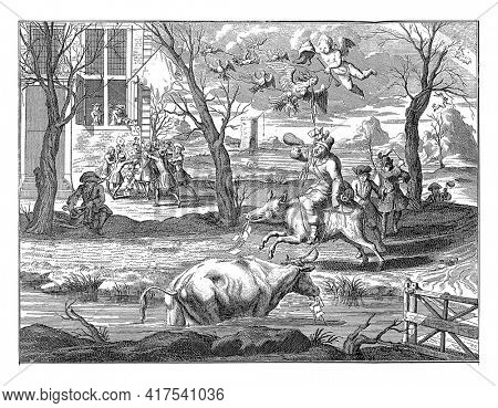 Postillion on a pig brings news that the company is full, vintage engraving.