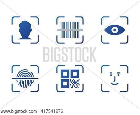 Fingerprint, Face Id, Barcode, Eye And Qr Code Scanner. Identity Biometric Verification Icon. Qr Cod