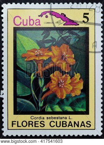 Republic Of Cuba - Circa 1983: Postage Stamp Of 'cordia Sebestena' Printed In Republic Of Cuba. Seri