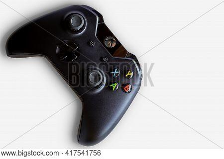 Rio De Janeiro, Brazil - April 19, 2021: Xbox Video Game Controller A Microsoft Gamepad. White Backg