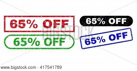 65 Percent Off Grunge Seal Stamps. Flat Vector Textured Seal Stamps With 65 Percent Off Title Inside