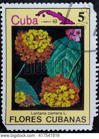 Republic Of Cuba - Circa 1983: Postage Stamp Of 'lantana Camara' Printed In Republic Of Cuba. Series