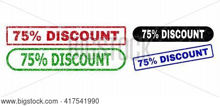 75 Percent Discount Grunge Stamps. Flat Vector Textured Seal Stamps With 75 Percent Discount Text In