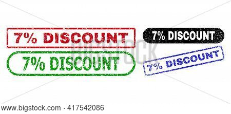 7 Percent Discount Grunge Seal Stamps. Flat Vector Scratched Seal Stamps With 7 Percent Discount Tex