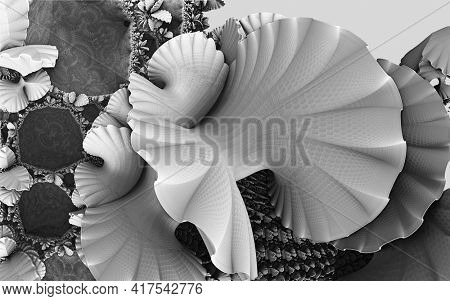 Abstract background, black and white fantastic 3D shapes, underwater grey shells, fictional render illustration.