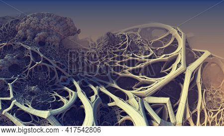 Abstract background fantastic 3D shapes, alien biological structures similar to roots, fictional background.