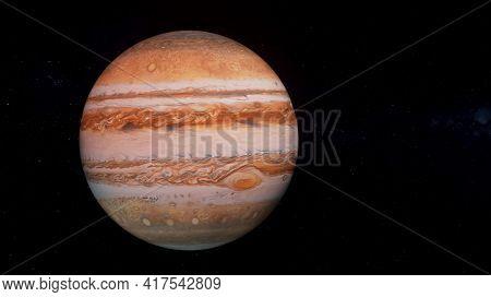 Jupiter planet 3D render illustration, high detailed surface features, jupiter globe scientific background with stars in the background.