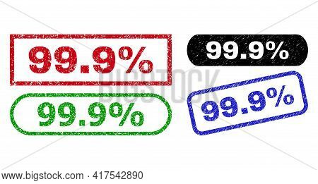 99.9 Percent Grunge Watermarks. Flat Vector Distress Watermarks With 99.9 Percent Phrase Inside Diff