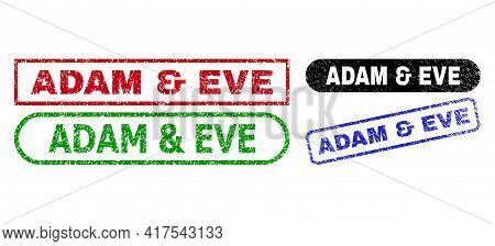 Adam And Eve Grunge Seal Stamps. Flat Vector Grunge Seal Stamps With Adam And Eve Phrase Inside Diff