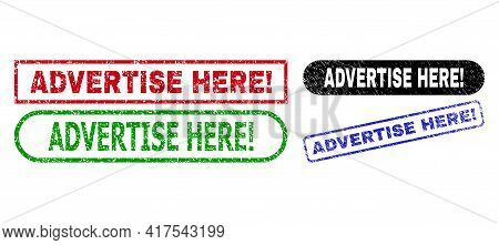 Advertise Here Exclamation. Grunge Seals. Flat Vector Grunge Watermarks With Advertise Here Exclamat