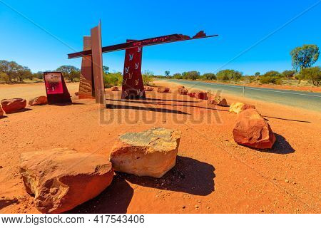 Northern Territory Outback, Australia - Aug 20, 2019: Red Centre Way Sign Between Lasseter Highway T