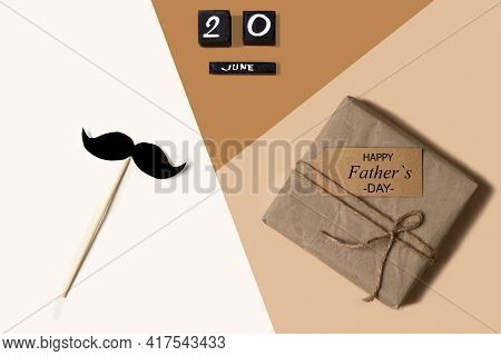 Gift Box, Paper Mustache And Father's Day Celebration Date June 20, 2021 On Trendy Isometric Beige B