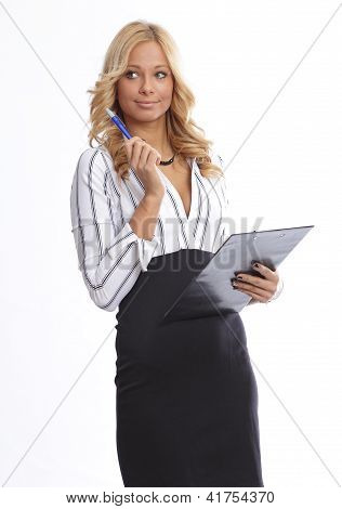 Blonde businesswoman with pen and a chart