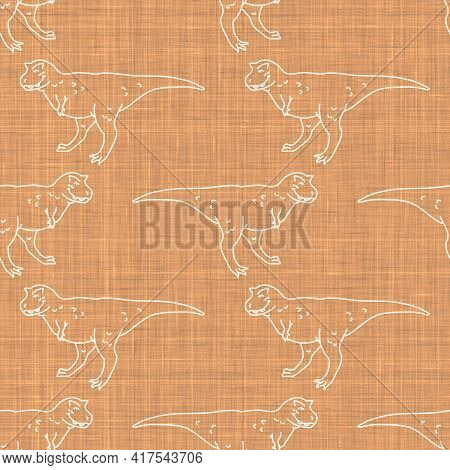 Seamless Background Carnotaurus Dinosaur With Foot Print Gender Neutral Baby Pattern. Simple Whimsic