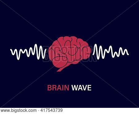 Human Brain Waves. Brain Activity Wave Concept. Pink Mind With Mental Wave. Isolated Blue Background