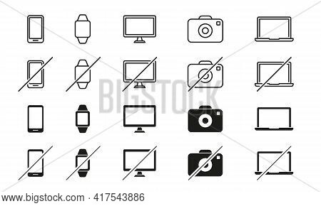 Set Of Devices Line Icons. Smartphone, Tablet Pc, Laptop, Camera, Smart Watch. Ban Of Devices. Devic