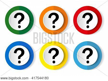 Question Mark Icon Set, Flat Design Vector Illustration In 6 Colors Options For Webdesign And Mobile