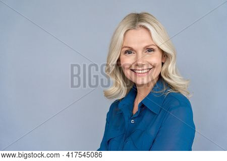 Happy Smiling Mature 50 Years Old Female Psychologist Portrait Looking At Camera. Closeup Headshot O