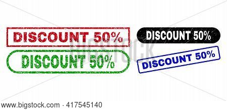 Discount 50 Percent Grunge Watermarks. Flat Vector Scratched Watermarks With Discount 50 Percent Phr