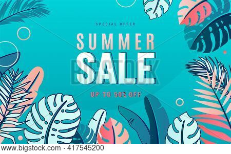 Summer Sale Vector Background With Nature Tropical Leaves Border. Promo Design Summertime Card Templ