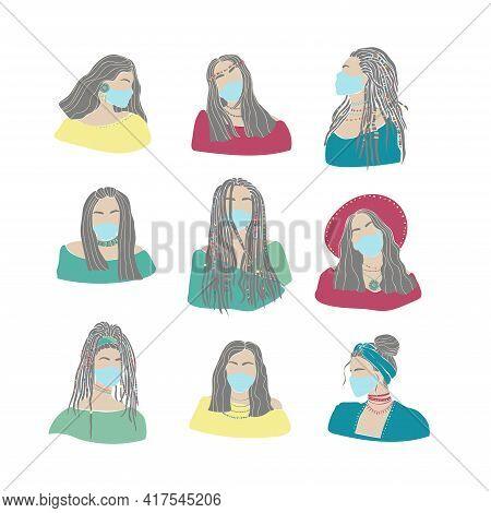 Set Portrait Of Women Face Mask Drawn. Coronavirus Epidemic Concept. Vector Graphic Illustration. Co