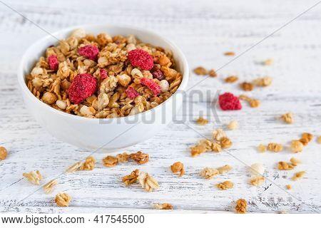 A Bowl Of Whole Grain Muesli. Homemade Granola. Sprinkled Muesli