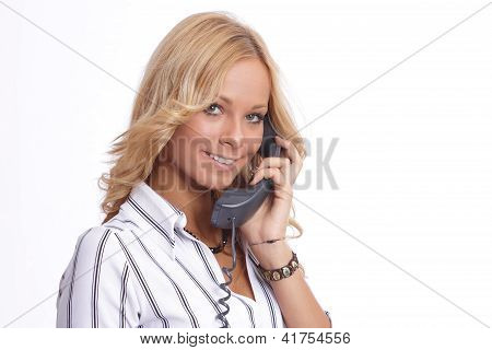Cute woman speaking on the phone