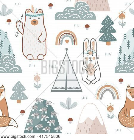 Seamless Pattern With Cute Forest Animals, Flowers, And Trees. Childish Print For Nursery Background