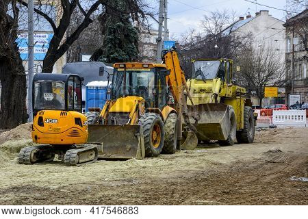 Construction Work On The Construction Of New Roads And Laying Of Tram Rails In Lviv, Ukraine