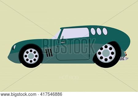 Custom Car, Custom Van, Side View, Flat Design, Fully Editable