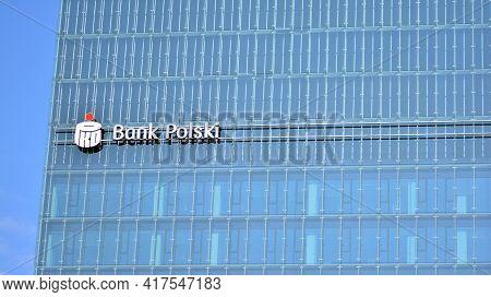 Warsaw, Poland. 19 April 2021. Sign Pko Bank Polski. Company Signboard Pko Bank Polski.