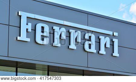 Warsaw, Poland. 19 April 2021. Sign Ferrari. Company Signboard Ferrari.