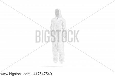 Blank White Plush Jumpsuit With Hood Mockup, Side View, 3d Rendering. Empty Sleepover Hooded Homewea