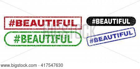 Hashtag Beautiful Grunge Stamps. Flat Vector Grunge Watermarks With Hashtag Beautiful Text Inside Di