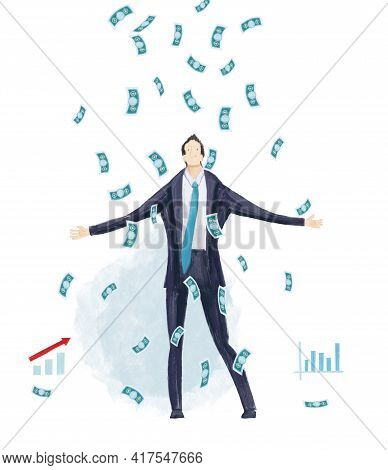 Business People And Lots Of Money Falling From The Sky. Success Concept. Future Project, Developing