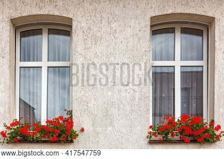 Windows on a wall with red flowers