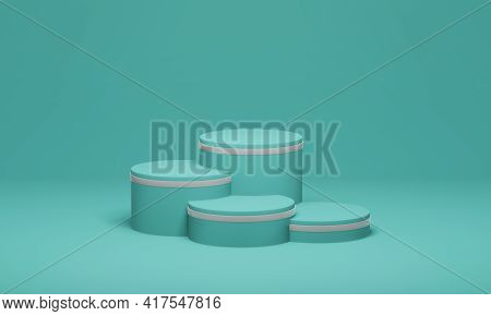 Stepped Pedestal Of Four Turquoise Cylinders With White Stripe In Studio Lighting On Turquoise Backg