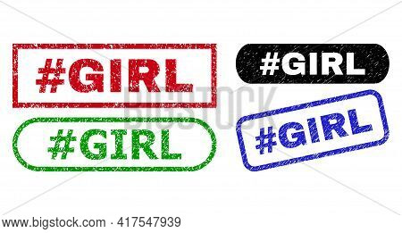 Hashtag Girl Grunge Stamps. Flat Vector Grunge Watermarks With Hashtag Girl Tag Inside Different Rec