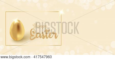 Golden Egg - Easter Greeting Card For Wishes For Money And Success. Background With Spring Flowers A