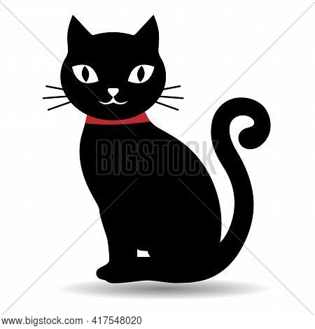 Illustration Of A Cute Black Kitten With A Red Collar On A White Background