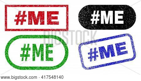 Hashtag Me Grunge Seals. Flat Vector Grunge Watermarks With Hashtag Me Tag Inside Different Rectangl