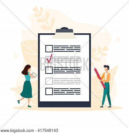 Complete Checklist And Check Mark Ticks. Man Holding Pencil While Looking At A Completed Checklist O