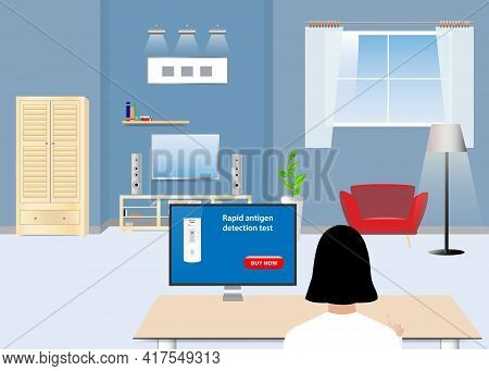 Buying Rapid Covid-19 Tests Concept Illustration. Woman Is Buying Test By Pc Sitting In A Home.