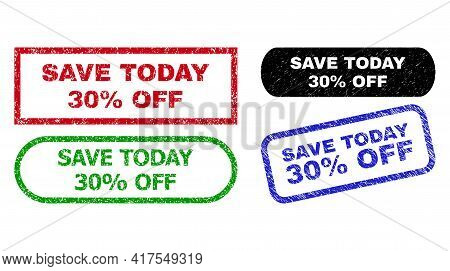 Save Today 30 Percent Off Grunge Watermarks. Flat Vector Grunge Watermarks With Save Today 30 Percen