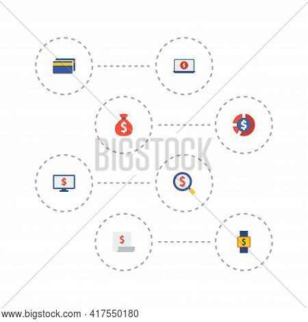 Set Of Financial Icons Flat Style Symbols With Financial Report, Smart Watch, Cards And Other Icons